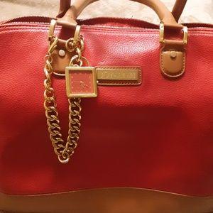 Joy&Iman Large ,red leather ,w/ brown trim purse